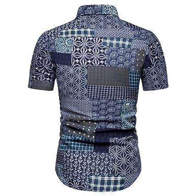 a279ddd2556a Amazon.com: Fainosmny Mens Tops Slim Lapel Shirts Summer Button Blouse Work  Business Shirt Print Sweatshirt Short Sleeve Tunic Tees: Clothing