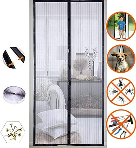 """FITS 36/"""" Door Magnetic Screen Door Full Frame Magnetic Door Screen with Heavy Duty Mesh Curtain Pet Friendly Bugs Out Screen Door Insect Out Screen Door Mosquito Magnetic Door Screen Door Net"""