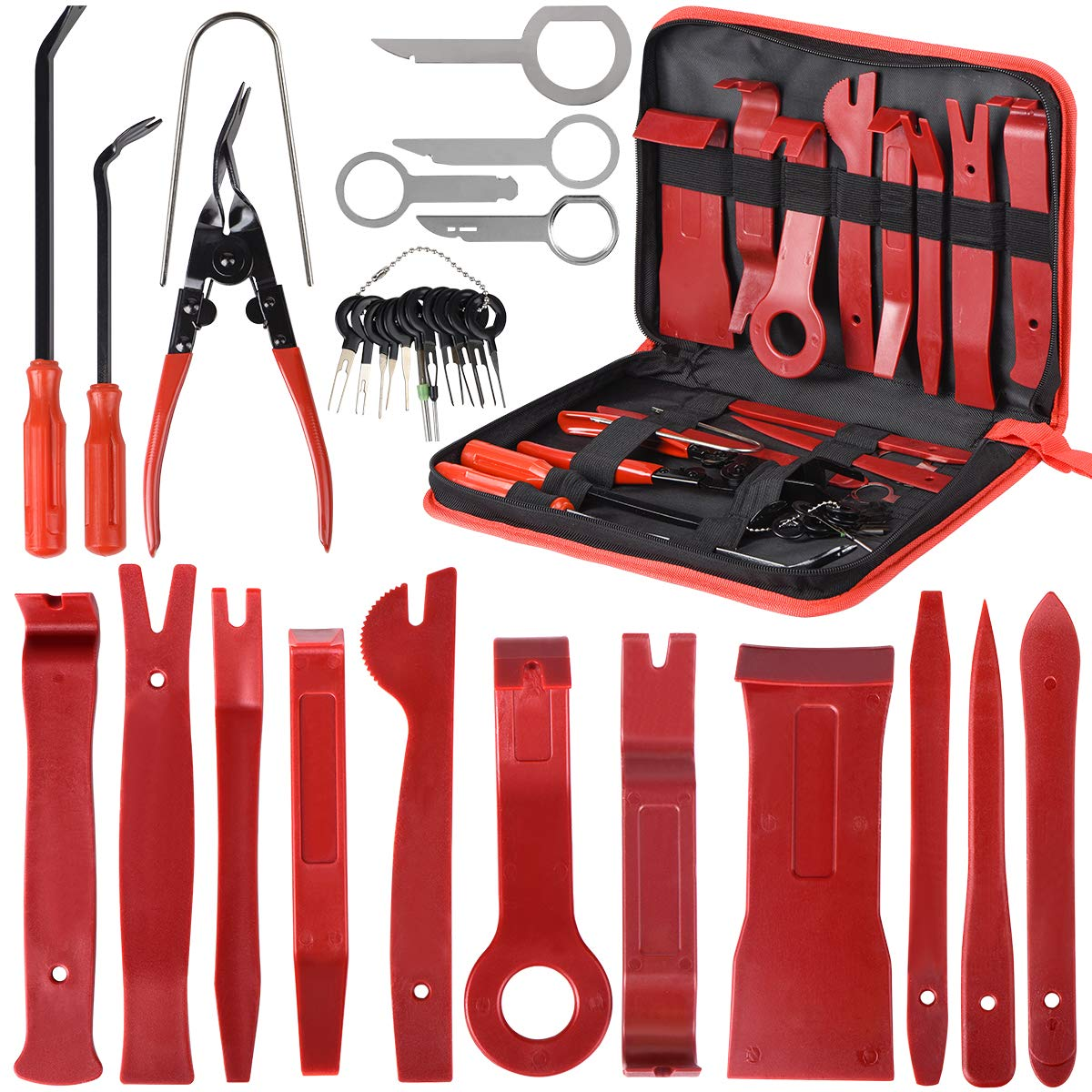 Car Trim Removal Tool 30pcs Auto Door Panel Removal Tool for Dash Center  Console Installation and Remover with Terminal Removal Tools (red)