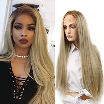HANNE Ombre Ash Blonde Lace Front Wig Long Silky Straight Blonde Wig  Synthetic Heat Resistant Full 9aca725b68be