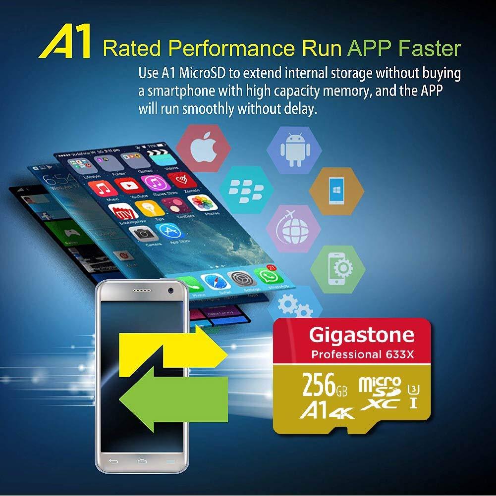 Gigastone 256GB Micro SD Card MicroSD U3 UHS-I C10, UHD 4K Video Recording, 4K Gaming, Read/Write 95/50 MB/s, with MicroSD to SD Adapter, Nintendo ...