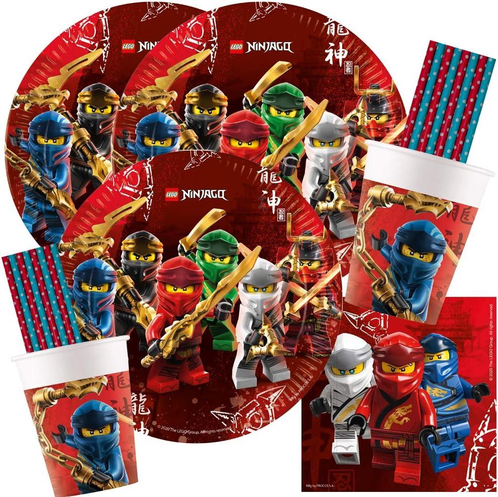 Teller Becher Servietten Papiertrinkhalme f/ür 16 Kinder spielum 68-teiliges Party-Set Lego Ninjago