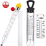 BBTO 2 Pieces Stainless Steel Candy Syrup Jam Jelly Deep Fry Thermometer Classic Kitchen Cooking Thermometer Confection Glass Thermometer for Food