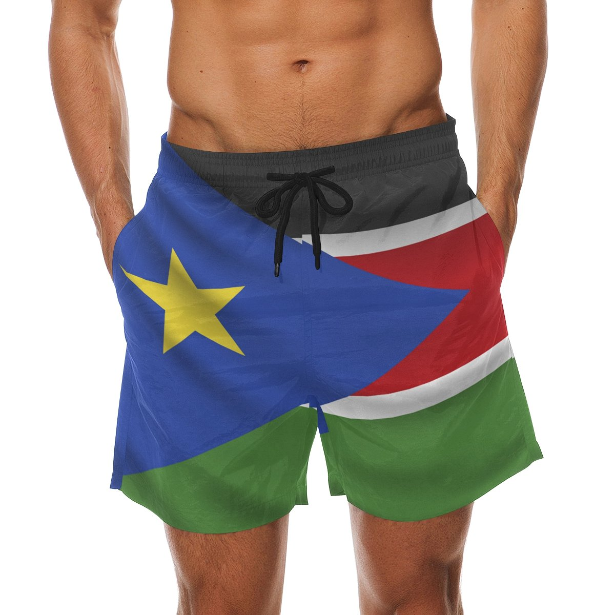 CoolPrintAll South Sudan Flag Men's Swim Trunks Beach Shorts with Pockets