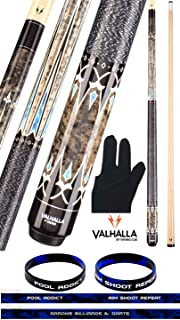 product image for Valhalla VA503 by Viking 2 Piece Pool Cue Stick Linen Wrap, HD Graphic Transfers, Nickel Silver Rings, High Impact Ferrule, 18-21 oz. Plus Billiard Glove & Bracelet