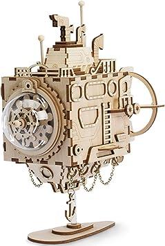 ROKR Kit de Caja Musical de Madera Puzzle de Madera 3D Mechanical Model Construction Kit-Proyectos Divertidos para Adultos y Niños - Maqueta 3D de Funcionamiento mecánico (Submarine): Amazon.es: Juguetes y juegos