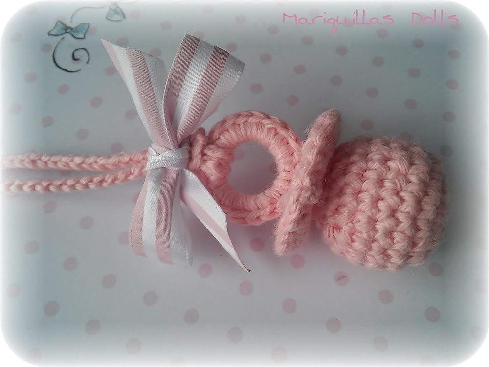 Chupete a crochet ROSA.