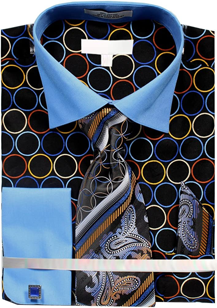 Mens Circle Tone on Tone Dress Shirt French Cuffs Tie Hanky Cufflinks