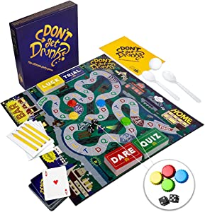 Don't GET Drunk The Ultimate Party Board Game: Combines Classic Party Drinking Games for Adults - Pong, Flip Cup, Kings Cup and Many More Including Unique Categories Like Dare, Quiz, Luck, and Trial