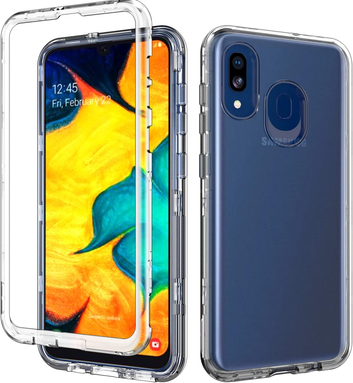 ACKETBOX Samsung A20 Case Hybrid Impact Defender Three Layer Drop Protection Armor Hard PC Back Case and Bumper+Shockproof TPU Full Body Protective Cover for Samsung Galaxy A20/A30(Clear)