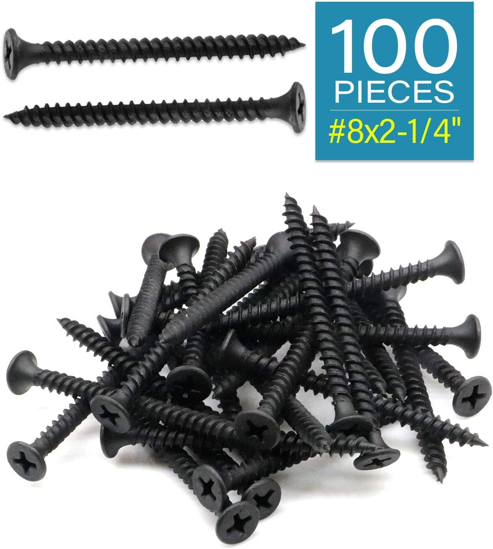 IMScrews 100pcs #8x2-1//4 Flat Head Phillips Drywall Screws Fine Thread Sharp Point Wood Screw Assortment Kit Carbon Steel 1022A Black Phosphate