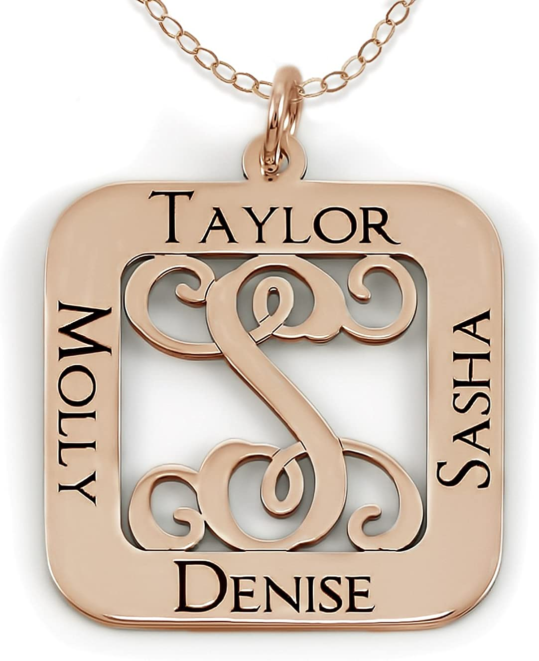 Square Cut Sterling Silver Script Initial and Name Pendant Necklace Choice of Chains Sterling Silver Personalized Center Monogram and Names 14k Gold Plate or Rose Gold Plate over Sterling Silver