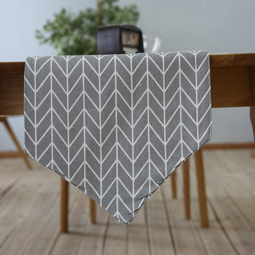 HINMAY Table Runner Grey Geometry Simple Style Thickly Modern Handmade Table Runner Decoration Indoor and Outdoor Use 30 * 180cm Linen Table Runner