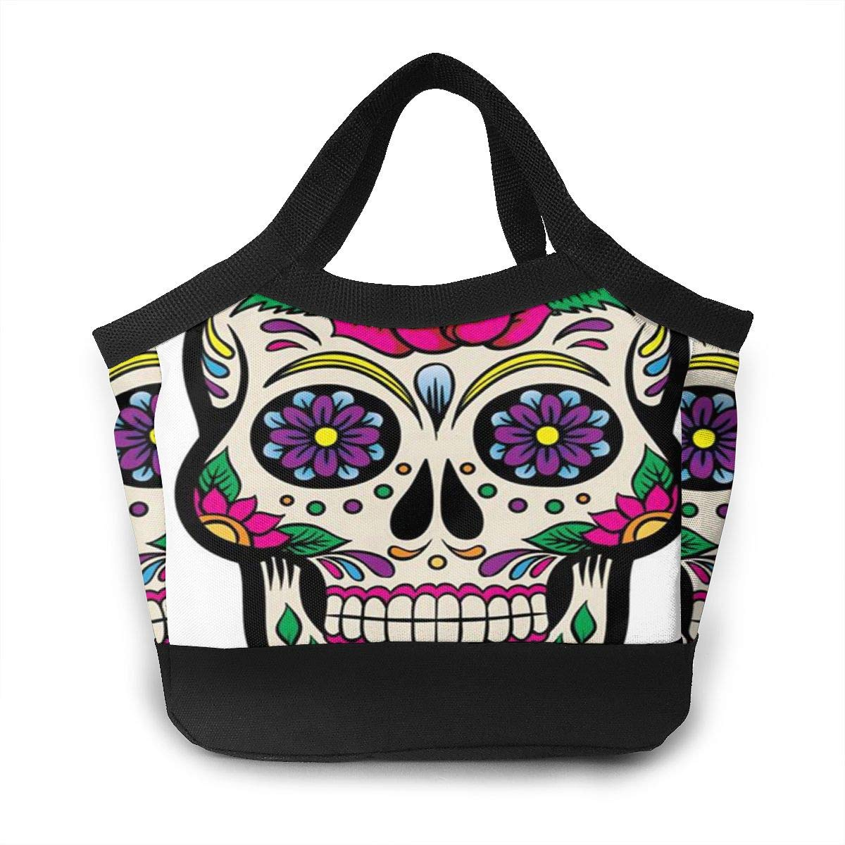 Lunch Bag Reusable Insulated White Sugar Skull Portable Lunch Tote Bag with Zip for Women