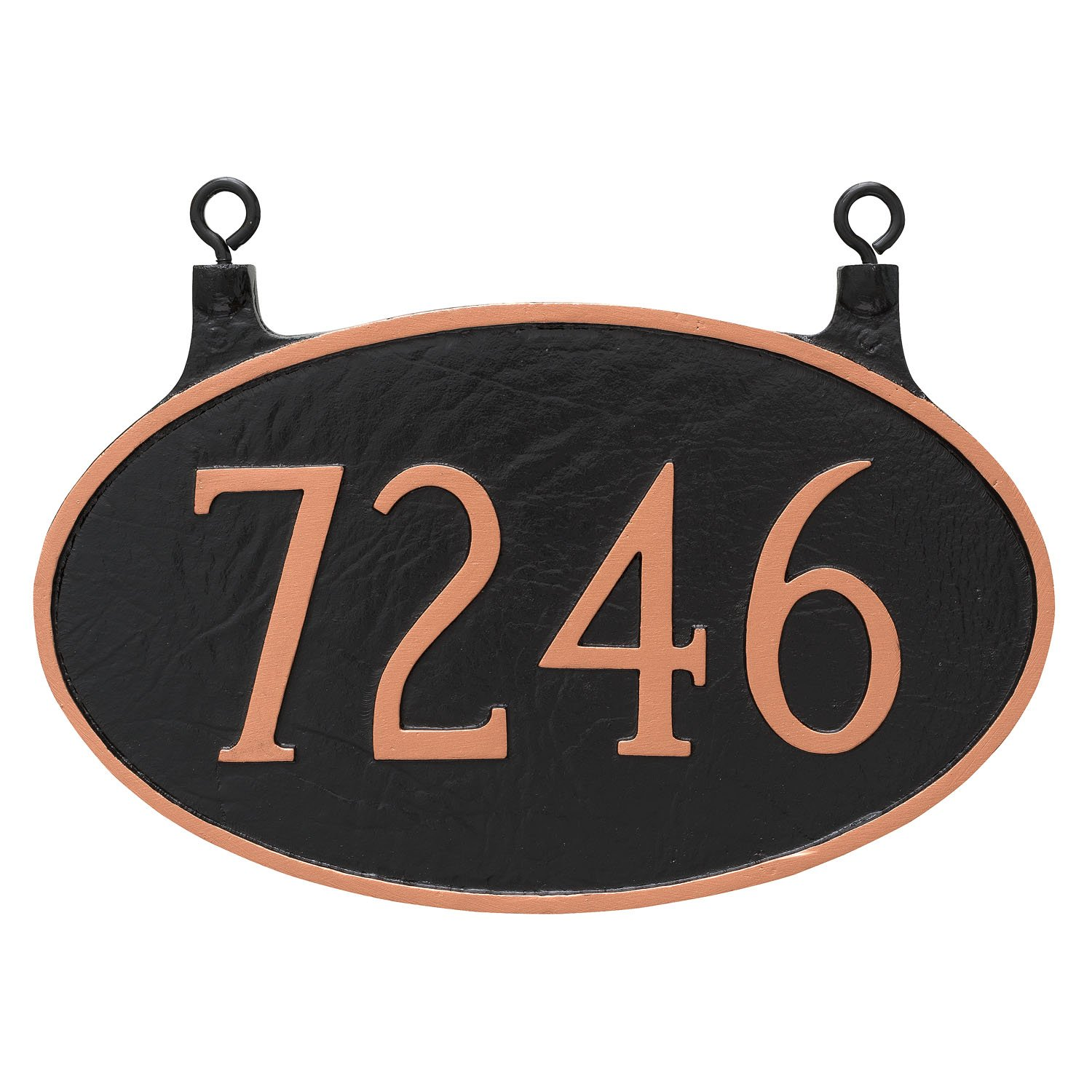 Montague Metal TSH-0001S1-H-BS 8.5' x 13.5' Double Sided Hanging Classic Oval Address Sign Plaque, Standard, Black/Silver