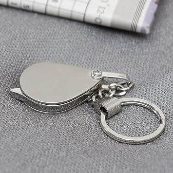 Chapado en plata plegable lupa llavero con cadena. Perfecto ...