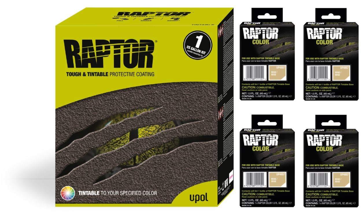 Raptor UP5057 Truck Bed Liner 1US Gallon + 4 Beige Colors Bundle