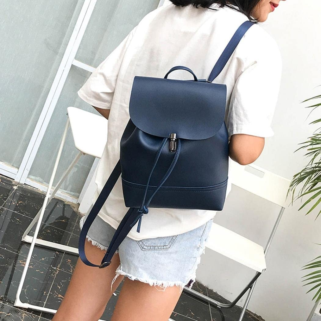 Pocciol Leather School Bag Satchel Women Vintage Travel Shoulder Bag Blue 2018 Lady Girl Love Backpack