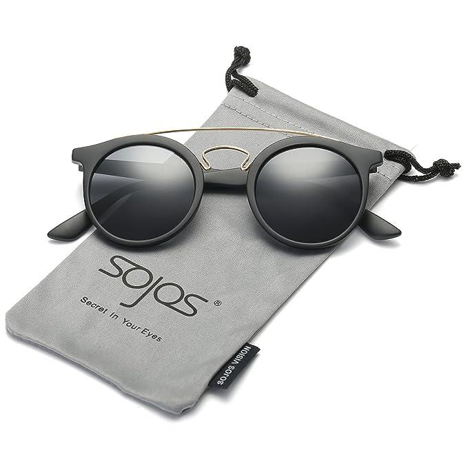 cb02b5cf10d SOJOS Classic Round Sunglasses for Men and Women Plastic Metal Frame SJ2024  with Matt Black Frame