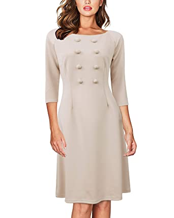 Autcy Womens Elegant Dresses Business Formal 34 Sleeve A Line
