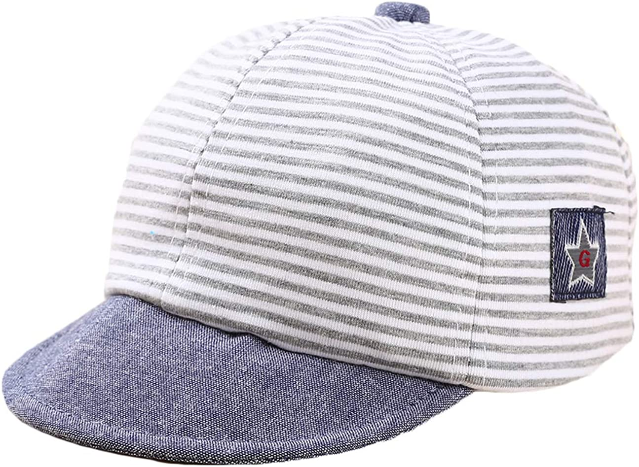 Baby Boy Baseball Cap Striped Sunhat Letter Sun Protection Hat,Sun Hat for Baby Boy and Baby Girl (1, Gray): Clothing