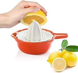 SWEEJAR Ceramic Citrus Juicer, Stoneware Lemon Squeezer with Detachable Bowl, 7 Ounce Manual Fruit Reamer,(Orange)