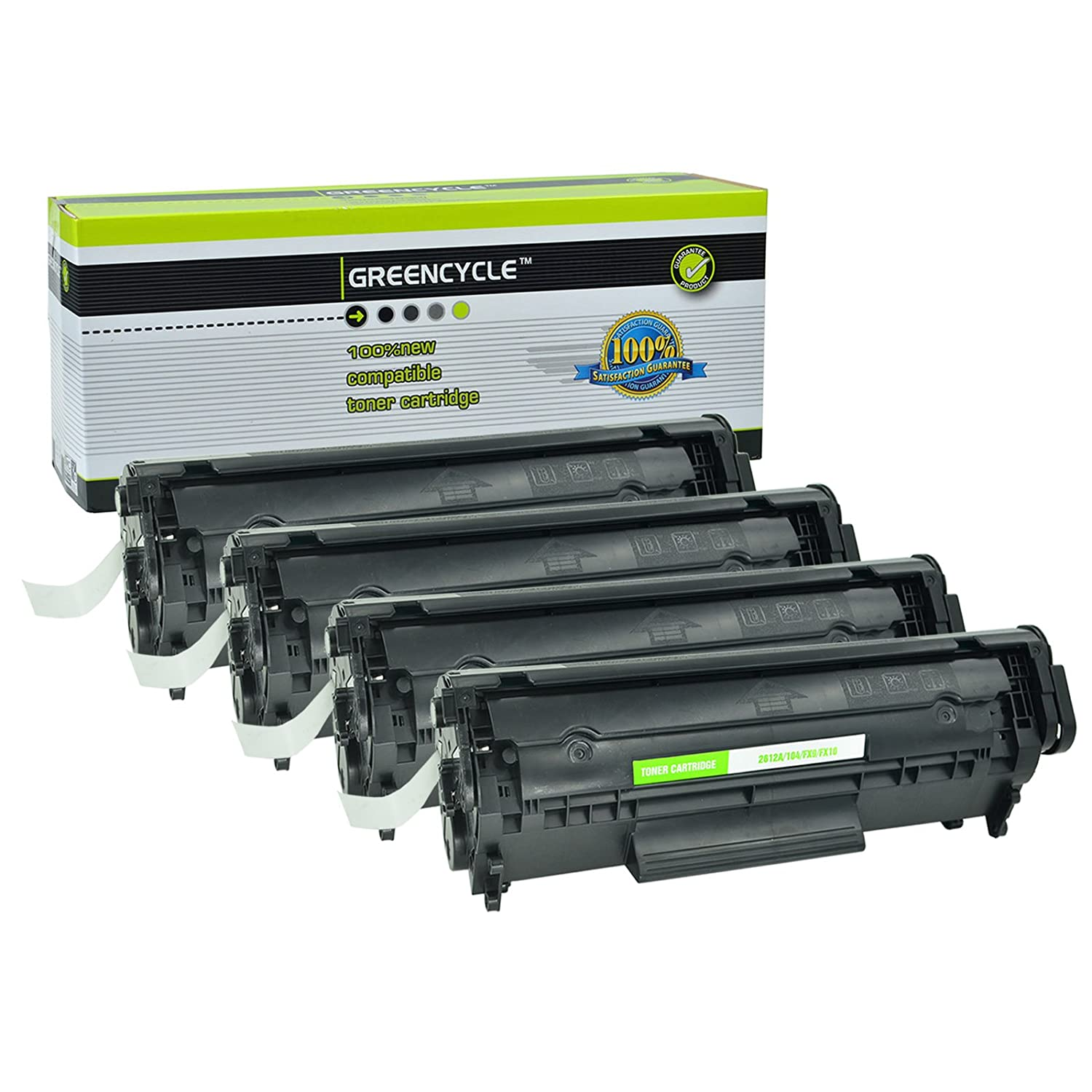 Greencycle Black Toner Cartridge Compatible With High Yield Canon 12a 1020 104 Crg104 Fx9 Fx10 Hp Q2612a