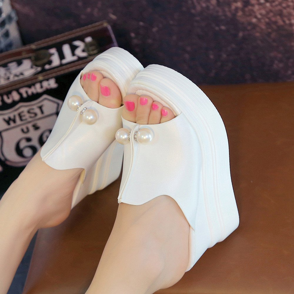Womens Open Toe Platform Wedge Slippers Thick-Bottom Pearl Waterproof Wedge Sandals Shoes