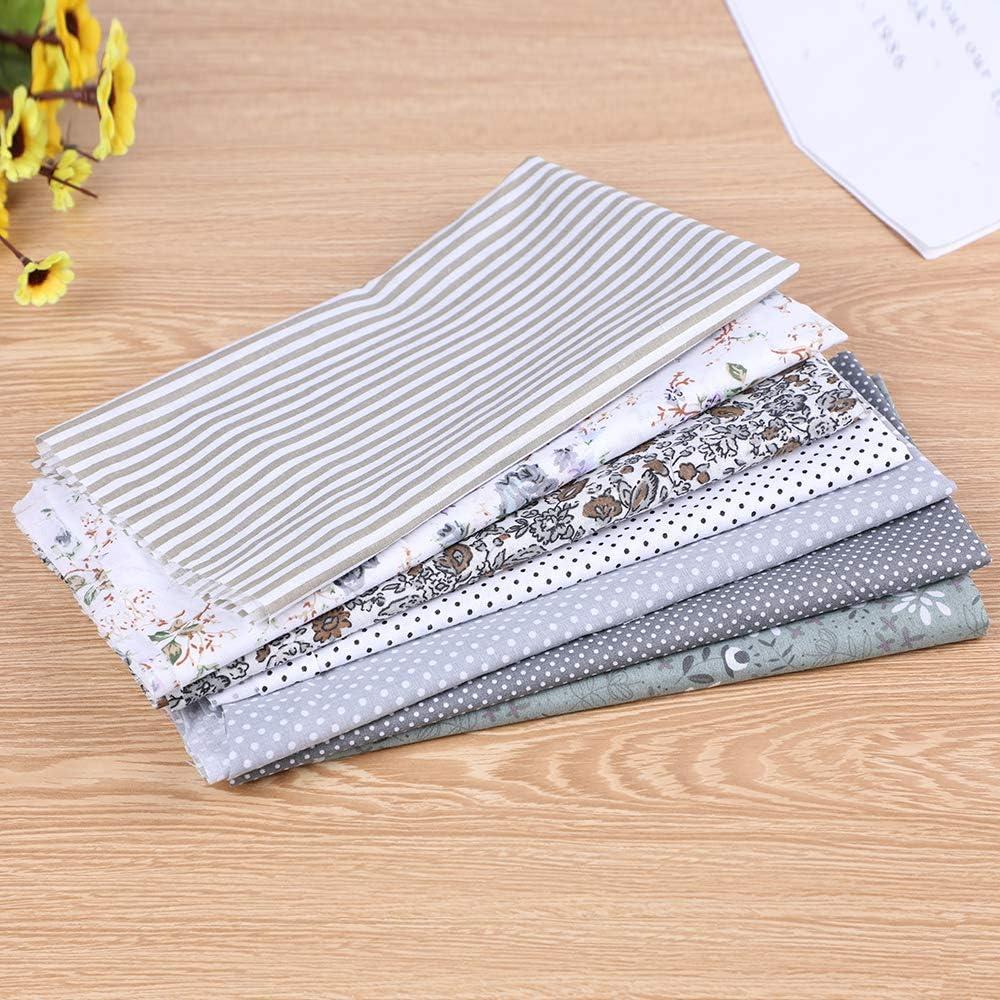 DoreenBow Textile Tissu Coton Motif Petit Fleur pour DIY Patchwork Artisanat Couture Gris 50x50cm 7PCS