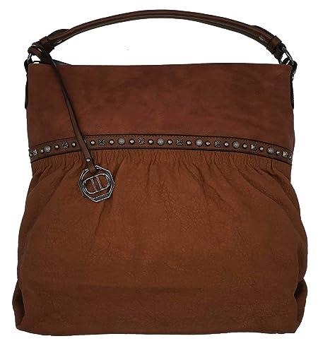 033185b189b6c Dudlin Shopper Tasche Nieten vorne Handtasche Shopperbag (braun ...