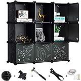 Greenstell Cube Storage Organizer, 9-Cube Closet Organizer with Doors, DIY Plastic Storage Cubes Organizer, Modular Storage C