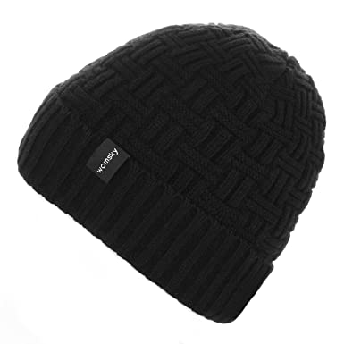 334af1d28a717 Womsky Wool Lined Beanie Hat Mens Winter Warm Knitting Hats Mens Winter  Solid Color Warm Knit