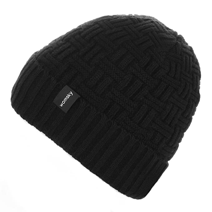 1ad1592e7 Womsky Wool Lined Beanie Hat Mens Winter Warm Knitting Hats Mens Winter  Solid Color Warm Knit Ski Skull Cap