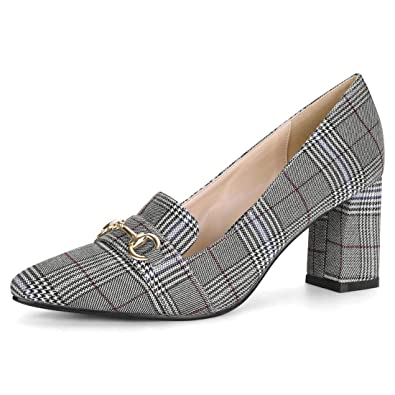 21bf8373e93 Allegra K Women s Pointed Toe Buckle Block Heel Plaid Black White Pumps - 6  ...