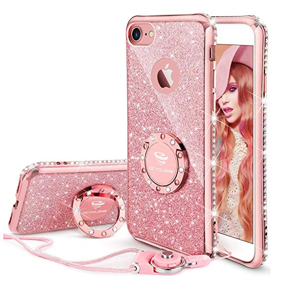 the best attitude 460c3 02a12 OCYCLONE iPhone 8 Case, iPhone 7 Case for Girl Women, Glitter Cute Girly  Diamond Rhinestone Bumper with Ring Kickstand Protective Phone Case for ...