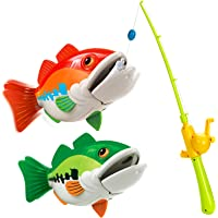 FORTY4 Kids Fishing Game Toy with 1 Adjustable Fishing Rod and 2 Realistic Fish, Pool Fishing Toy Set with Magnetic Bait…