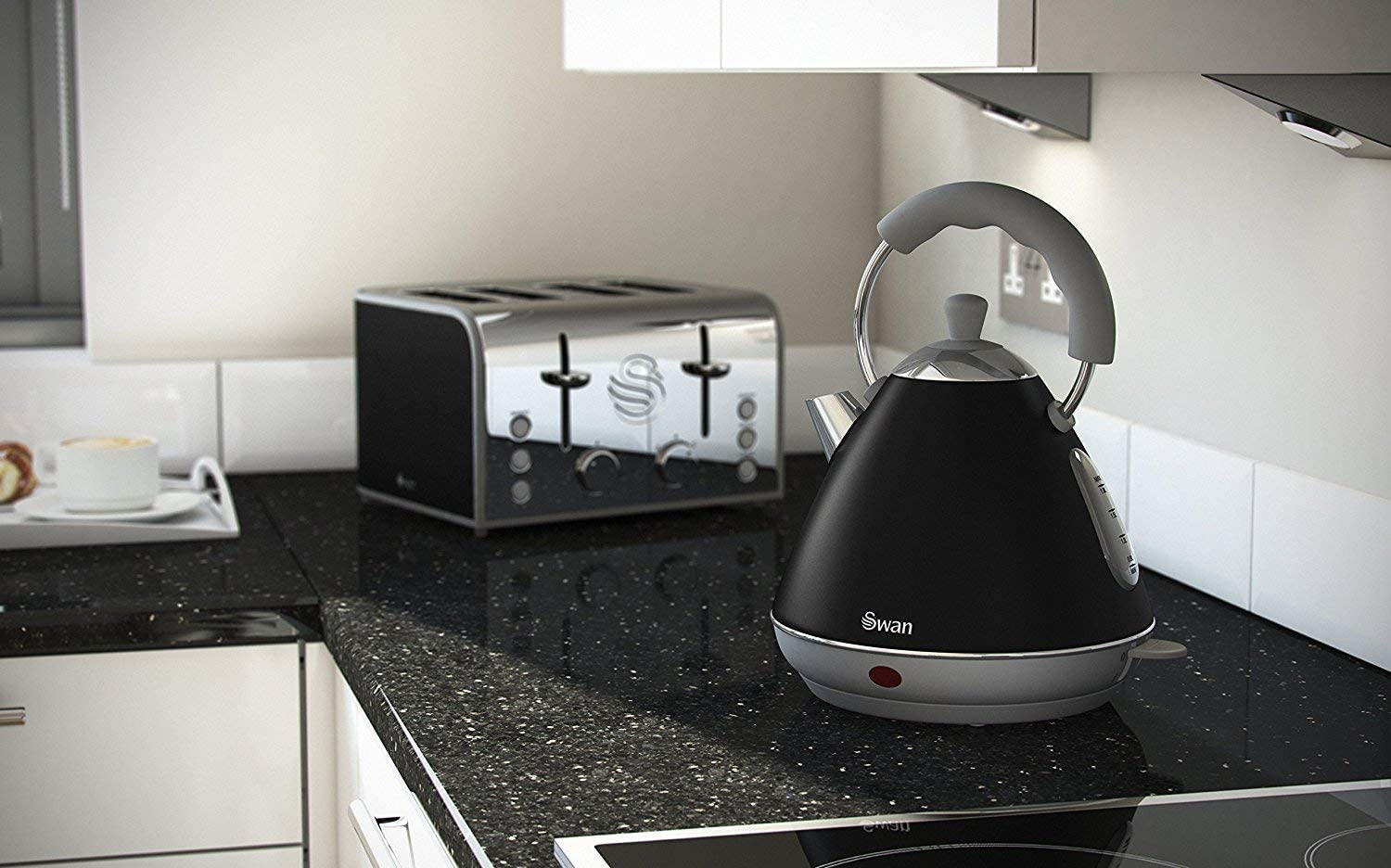 Swan Retro Black Pyramid Kettle - 2 Litre
