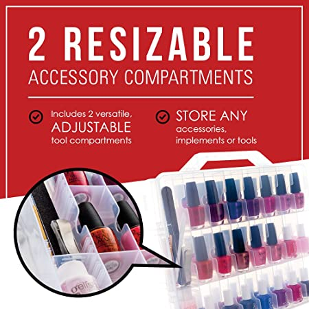 Nail Polish Organizer by SOLID Beauty Concepts - Declutter, Get Organized /& See Your Full Collection - Portable Case w// Handle /& Double Locking Lid. 48 Slot Nail Polish Storage /& 2 Tool Compartments HumanFriendly