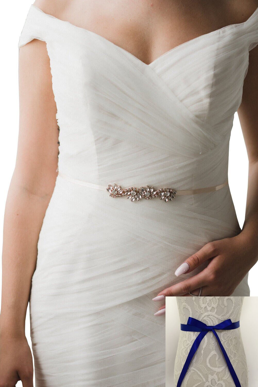 Rhinestones bridesmaids dresses sashes wave style formal dress belts (Royal blue)