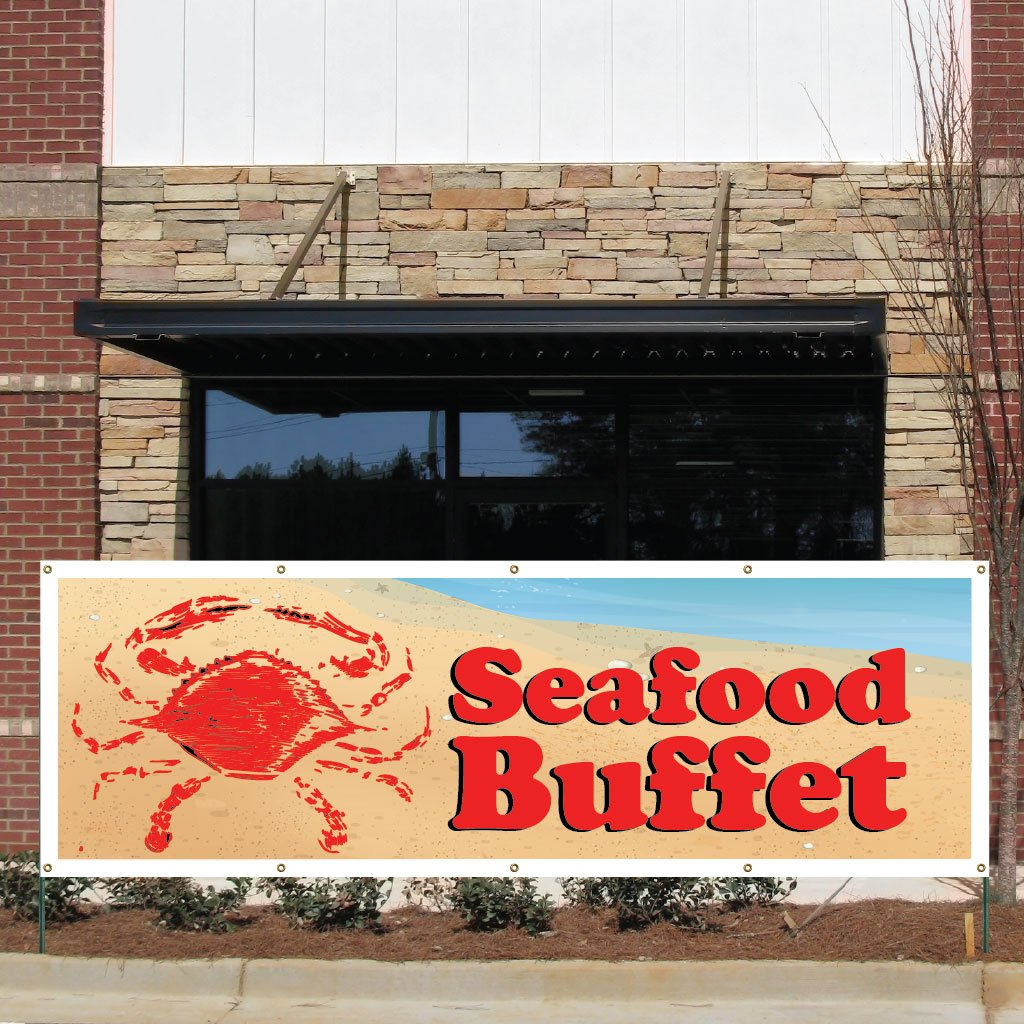 VictoryStore Business Banner - 3 feet x 9 feet''Seafood Buffet'' 10 Ounces Vinyl Banner, with Grommets for Hanging by VictoryStore