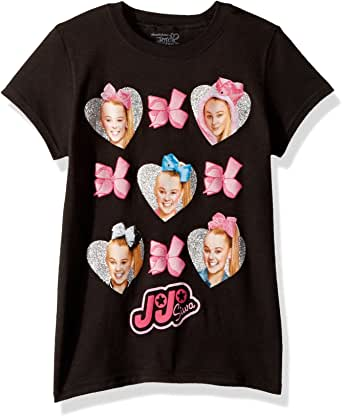 Nickelodeon Big Girls' JoJo Siwa Faces and Bows Short Sleeve T-Shirt