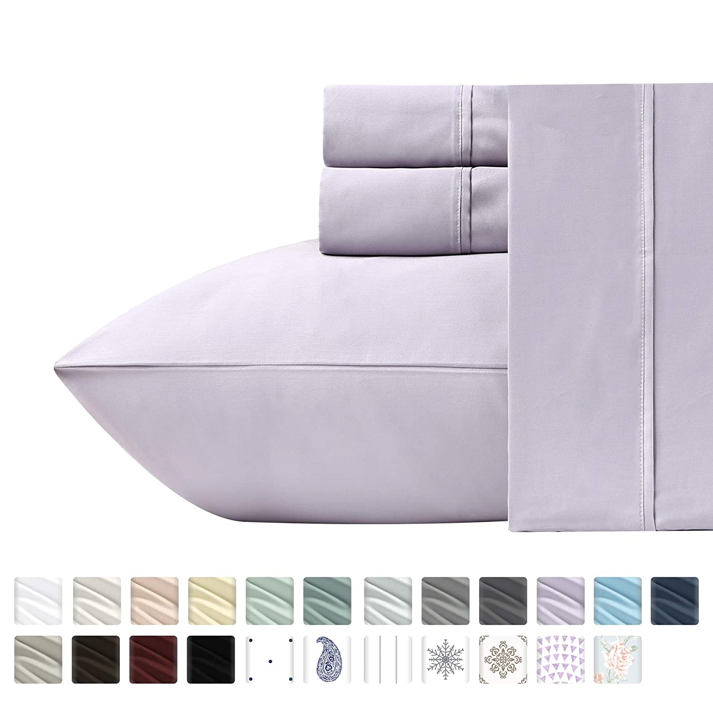 Luxury 400-Thread-Count 100% Pure Natural Cotton Sheet Sets - 4-Piece Lavender King Size Sheet Set Long-Staple Premium Cotton Yarns Hotel Quality Fits Mattress Upto 18'' Deep Pocket