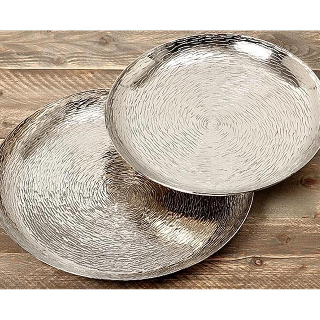 Deko-Teller Schale Ties 2er Set 42 + 48 cm Durchmesser Aluminium silber