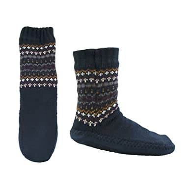 Mens Fair Isle Knitted Slipper Socks With Cosy Sherpa Lining Non ...