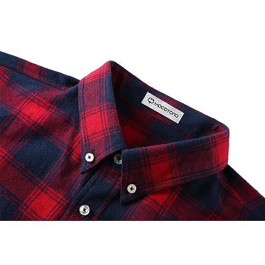 Mocotono Herren Langarm Kariertes Hemd Baumwolle Flanell Hemd mit Super  Qualität Rot und Dunkelblau XL  Amazon.de  Bekleidung eb98020a5e