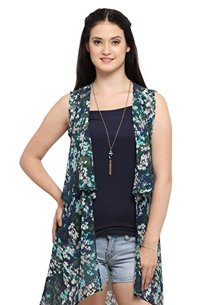 Serein Women's Blue/Green Floral Chiffon Shrug/Long Jacket (E-13) Women's Shrugs & Capes at amazon