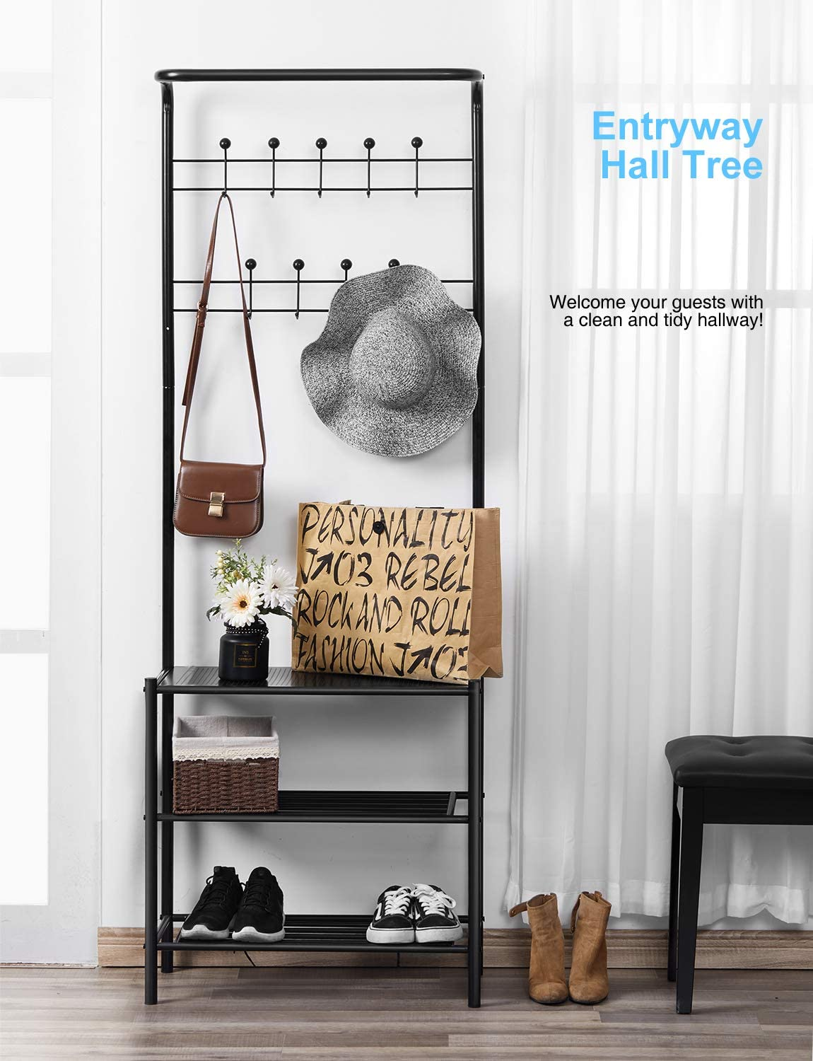 kealive Coat Rack Metal Entryway Hall Tree Freestanding with 9 Rounded Hooks Black Shoe Rack 3-Tier Storage Shelves for Jacket and Coats//Hats//Shoes or Bag Easy Assembly