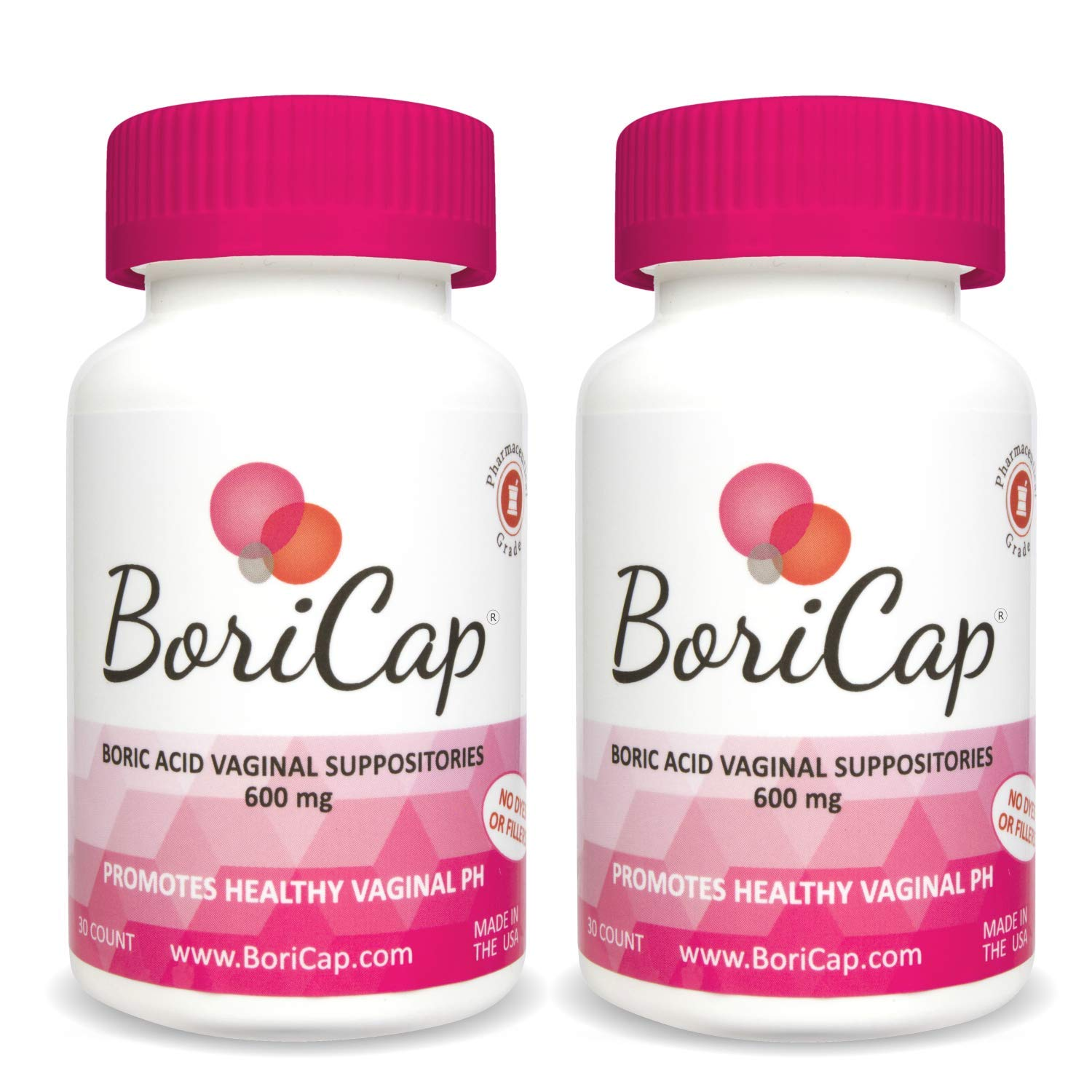 BoriCap Boric Acid Vaginal Suppositories | Capsules Size 00 | No Fillers, Flow Agents or Artificial Colors | Gynecologist Instructions Included | Made in The USA (2) by BoriCap