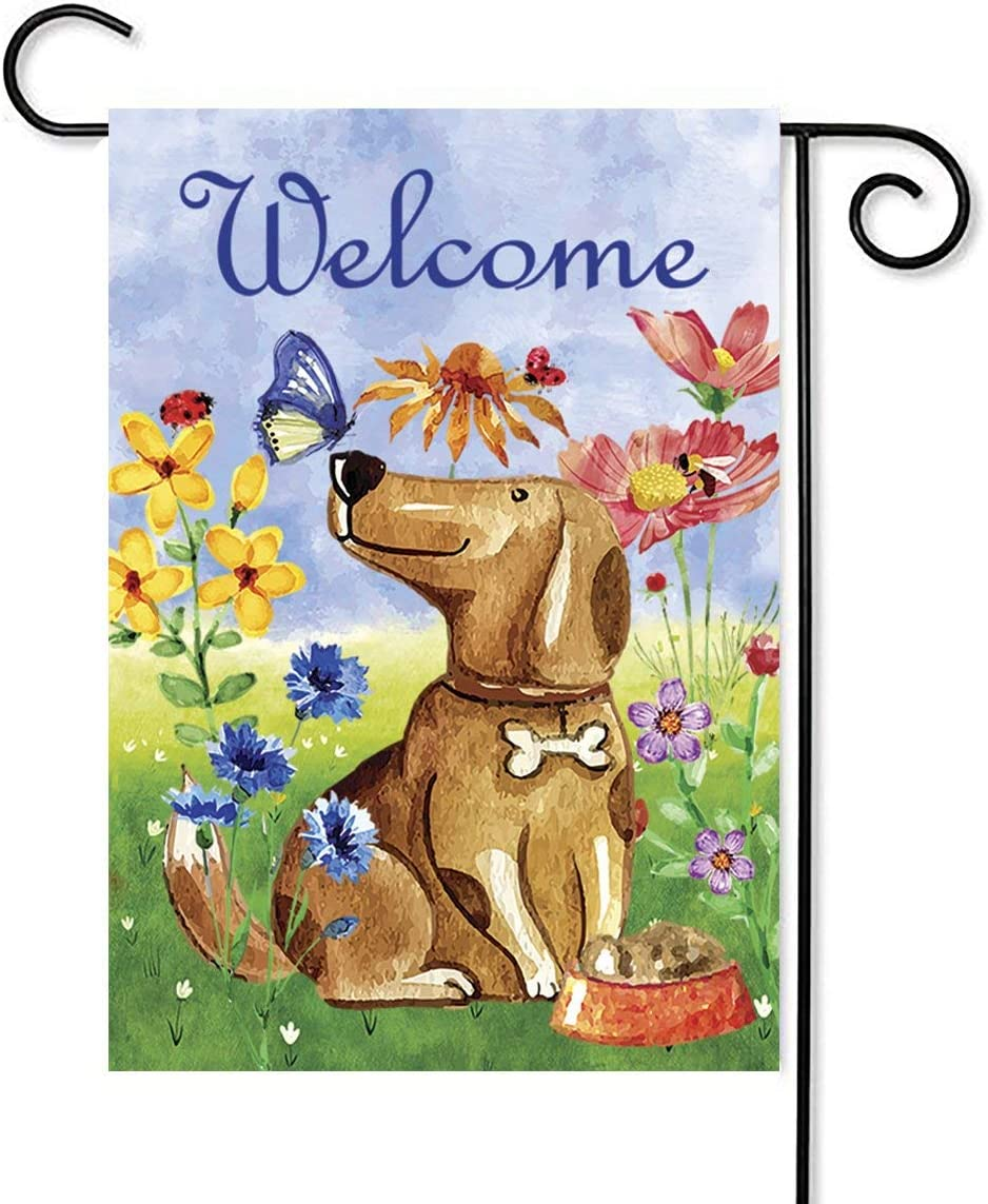 HMGRDE Welcome Home Garden Flag Vertical Double Sided Seasonal Spring Farmhouse Summer Burlap Yard Outdoor Funny Decorative 12.5 x 18 Inch (Dog Welcome)
