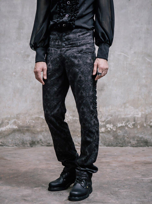 Gothic Victorian Black Silk Pants Men Steampunk Fashion High Waist Halloween Trousers 4